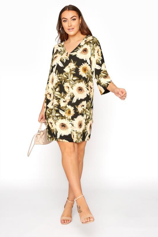 Black Sunflower V-Neck Shift Dress_A.jpg