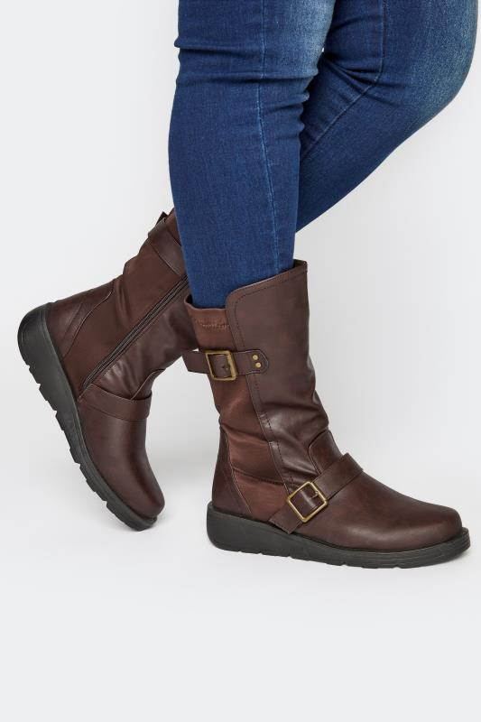 Brown Faux Leather Wedge Buckle Boots In Extra Wide Fit_M.jpg