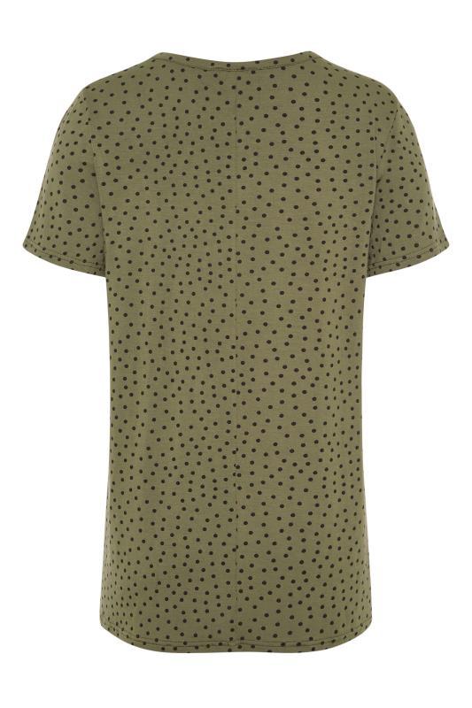 LTS Khaki Polka Dot Print T-Shirt_BK.jpg