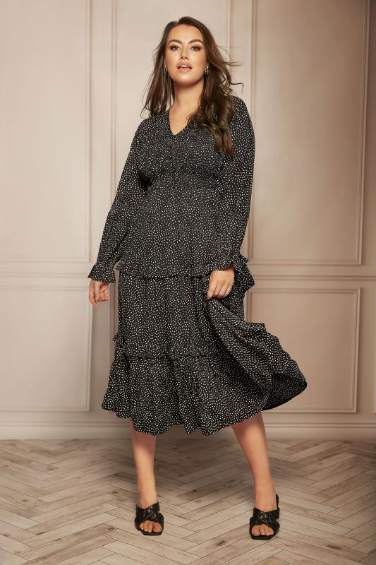 LIMITED COLLECTION Black Dalmatian Shirred Tiered Frill Midi Dress_L.jpg