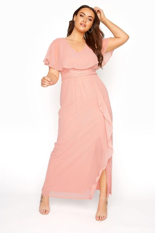 Plus Size  Pink Angel Sleeve Maxi Dress