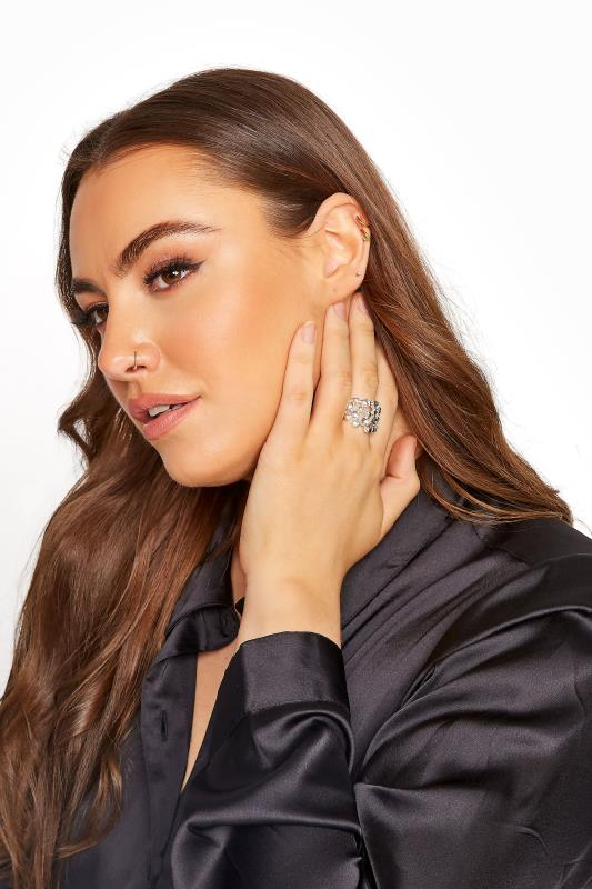 Plus Size  Silver Stone Cluster Stretch Ring