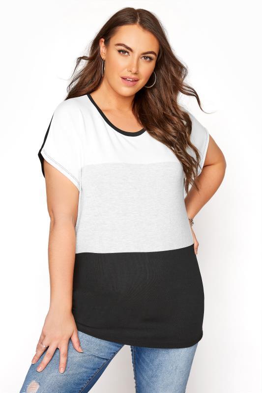 Plus Size  Black Colour Block Top