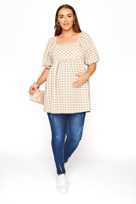 BUMP IT UP MATERNITY Ivory Gingham Square Neck Top_B.jpg