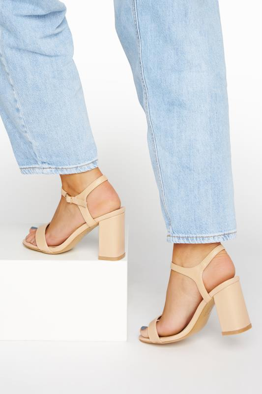 Großen Größen  LIMITED COLLECTION Nude Block Heeled Sandals In Extra Wide Fit