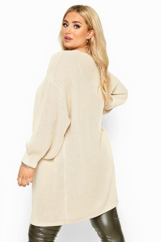 Stone Oversized Balloon Sleeve Knitted Cardigan