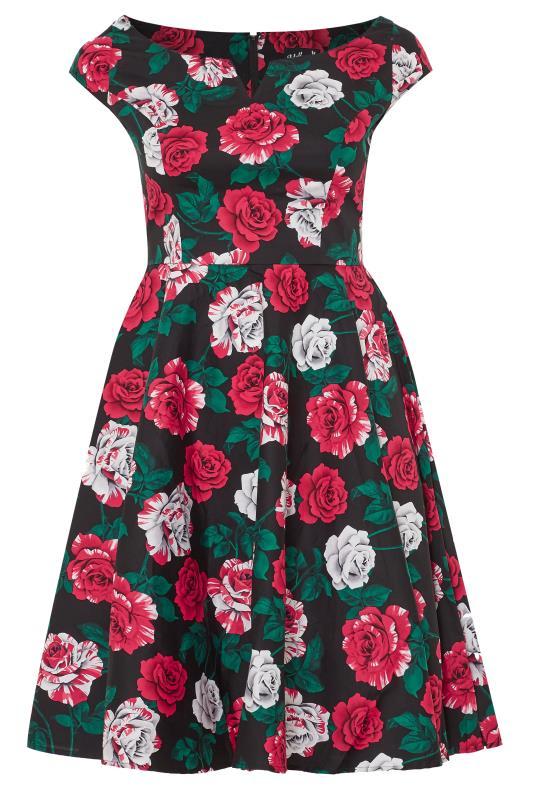 HELL BUNNY Black Floral Print 'Ruby' Dress