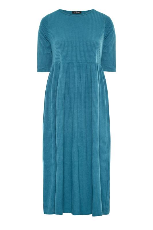 LIMITED COLLECTION Blue Ribbed Midi Dress_F.jpg