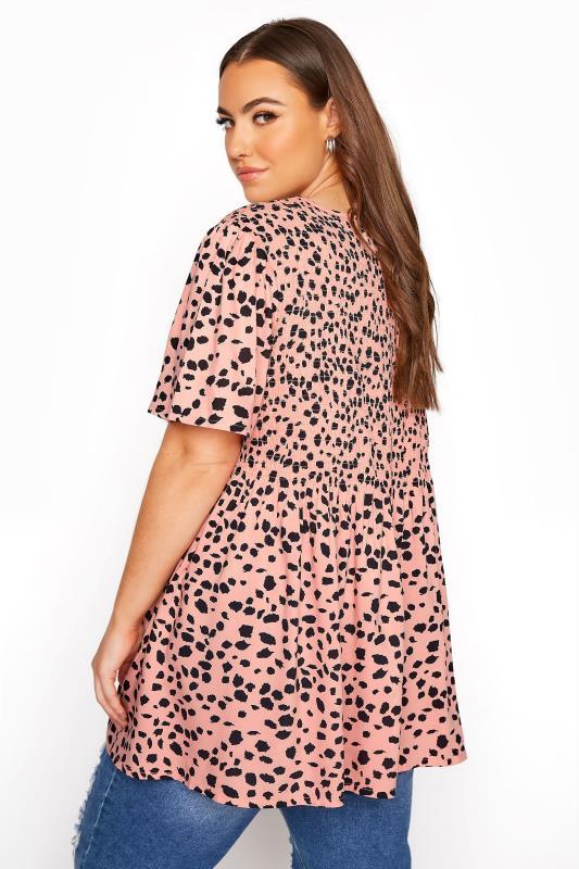 Pink Shirred Animal Print Top