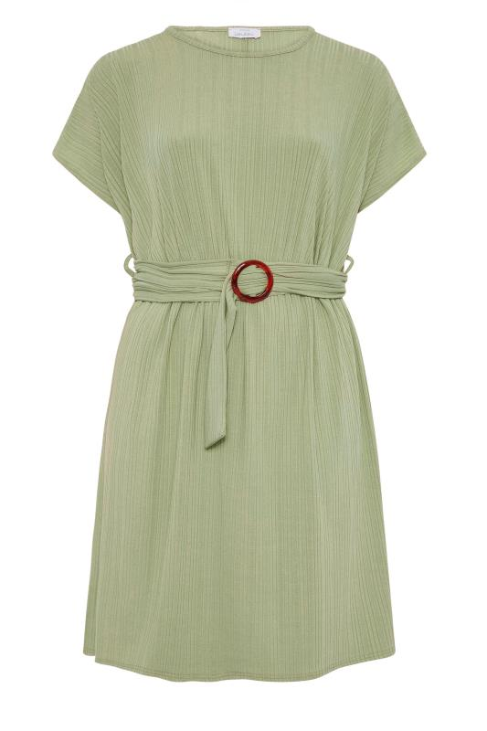 YOURS LONDON Green Ribbed Belted Dress_f.jpg