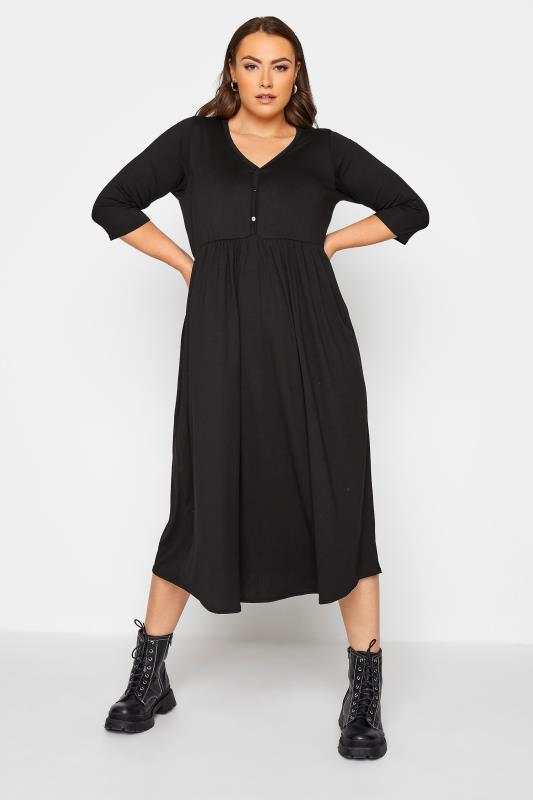 LIMITED COLLECTION Black Button Midaxi Dress_A.jpg
