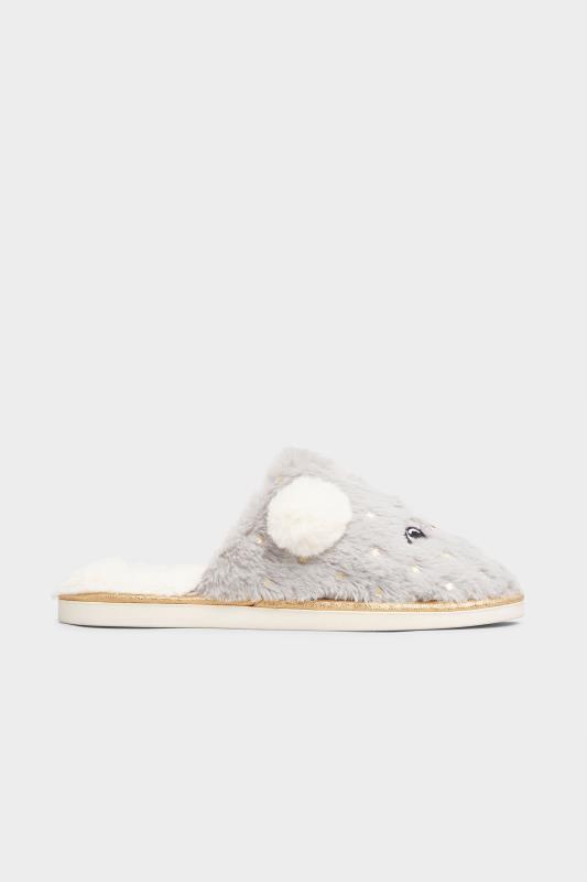 Grey Vegan Faux Fur Koala Mule Slippers In Regular Fit