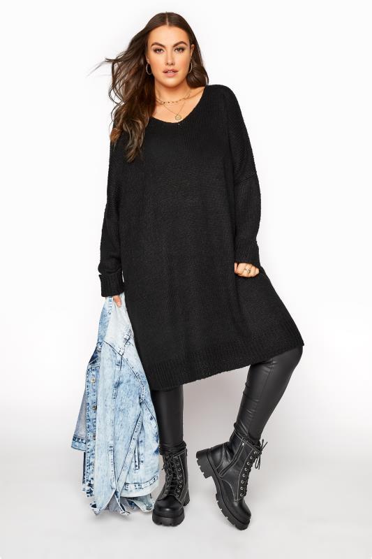 Black Drop Sleeve Knitted Jumper Dress_B.jpg