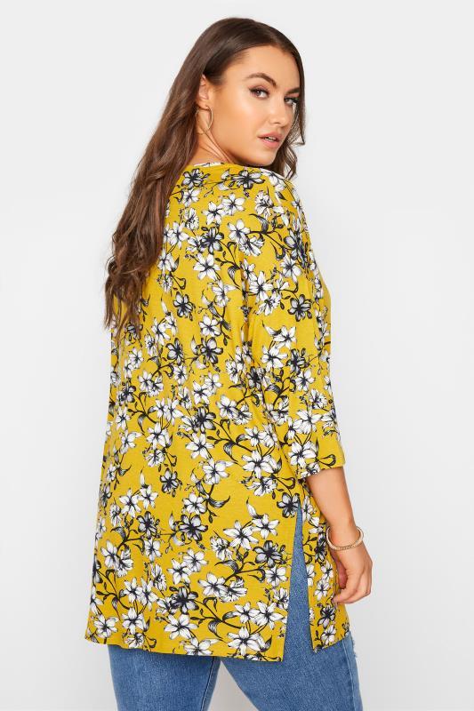 Yellow Floral Split Hem Tunic_C.jpg