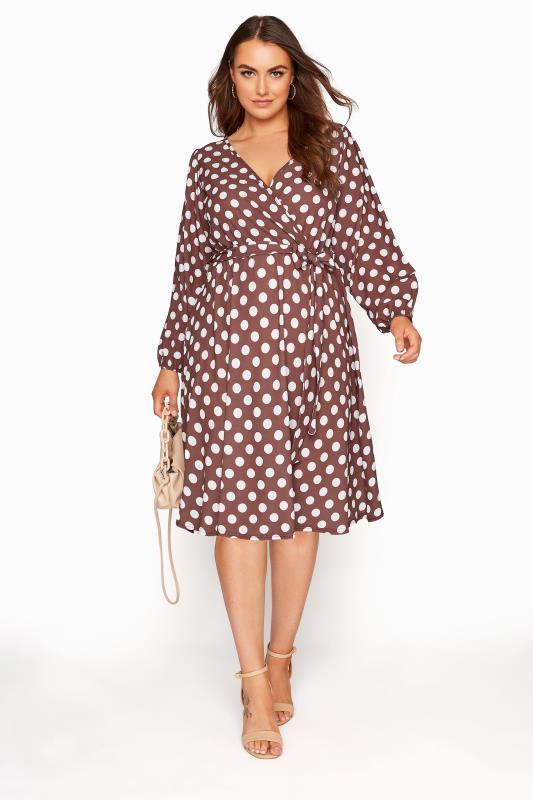 Großen Größen  YOURS LONDON Brown Polka Dot Wrap Dress