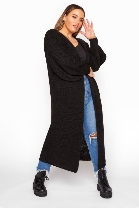 Plus Size  Black Balloon Sleeve Maxi Knitted Cardigan