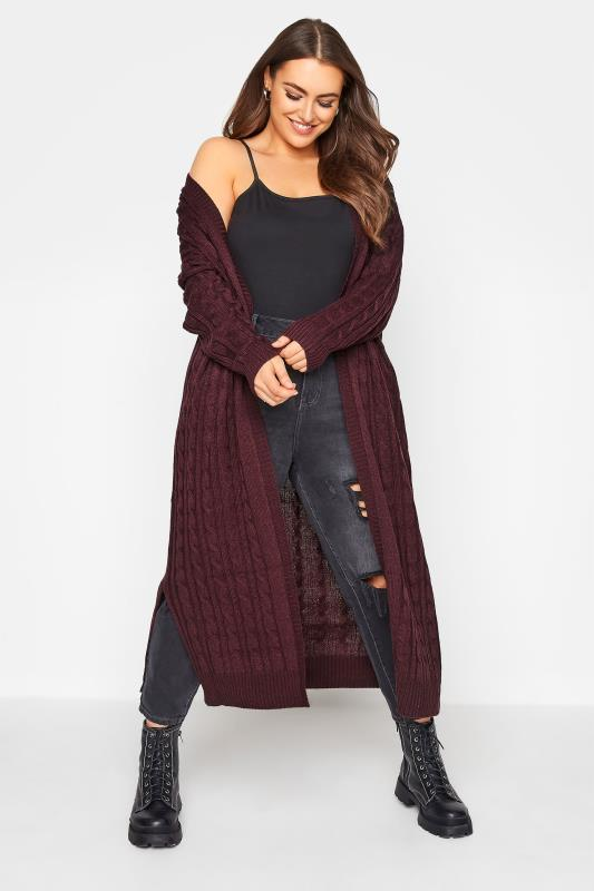 Plus Size  Berry Cable Knitted Maxi Cardigan