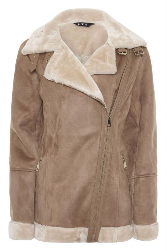 LTS Natural Faux Fur Trim Aviator Jacket_F.jpg
