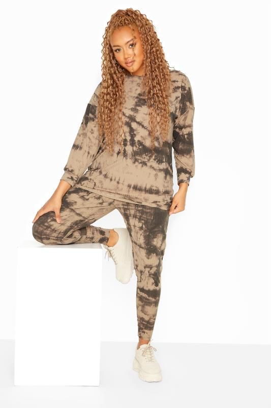 Plus Size  Stone Tie Dye Ribbed Co-ord Lounge Joggers