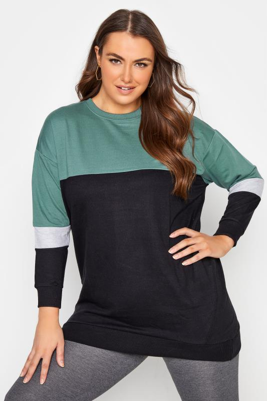 Plus Size  Green Varsity Colour Block Sweatshirt