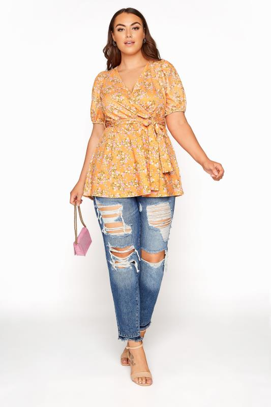 YOURS LONDON Orange Ditsy Floral Puff Sleeve Wrap Top_B.jpg