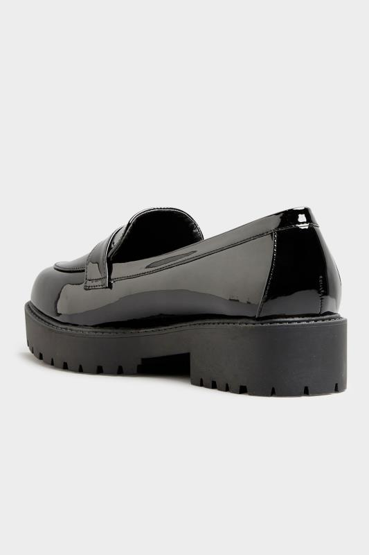 Black Patent Chunky Loafers In Extra Wide Fit_D.jpg