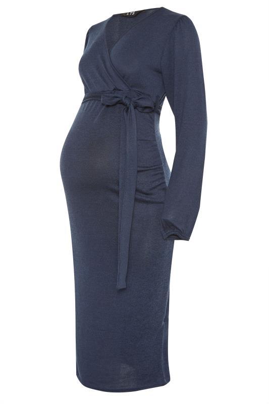 LTS Maternity Navy Wrap Ruched Midi Dress_F.jpg