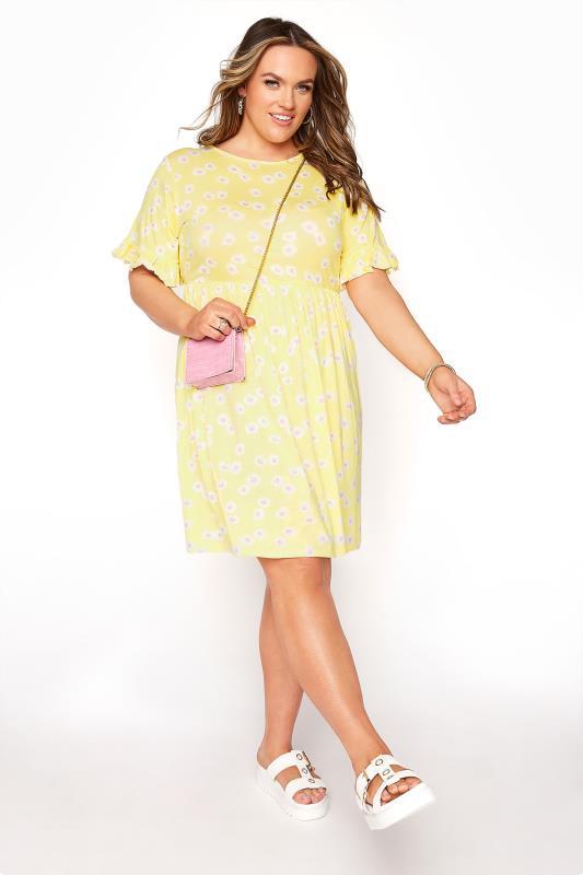 Lemon Yellow Floral Print Short Frill Sleeve Dress_B.jpg