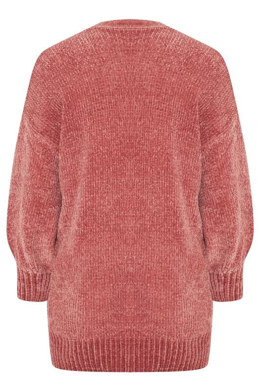 Pink Balloon Sleeve Chenille Knitted Cardigan
