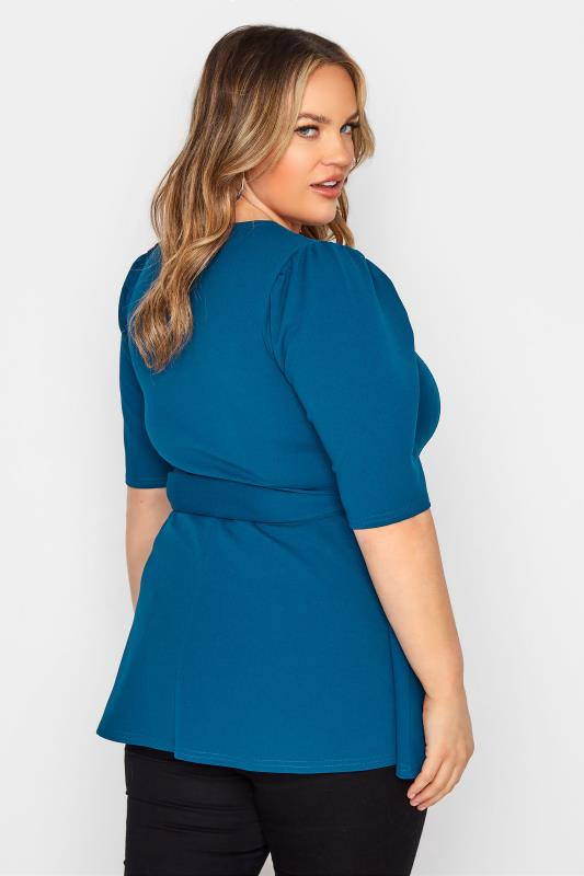 YOURS LONDON Teal Blue Notch Neck Belted Peplum Top_C.jpg