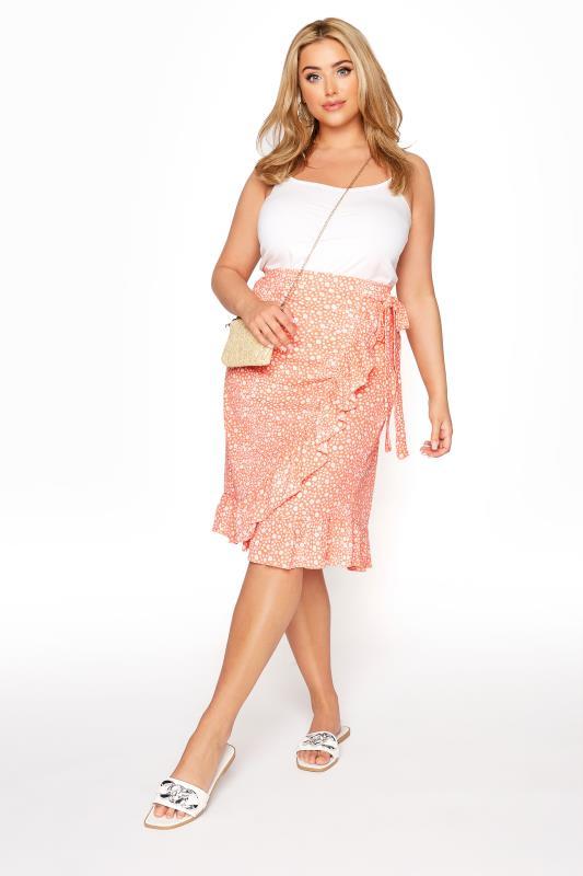 Plus Size  Orange Ditsy Frill Skirt