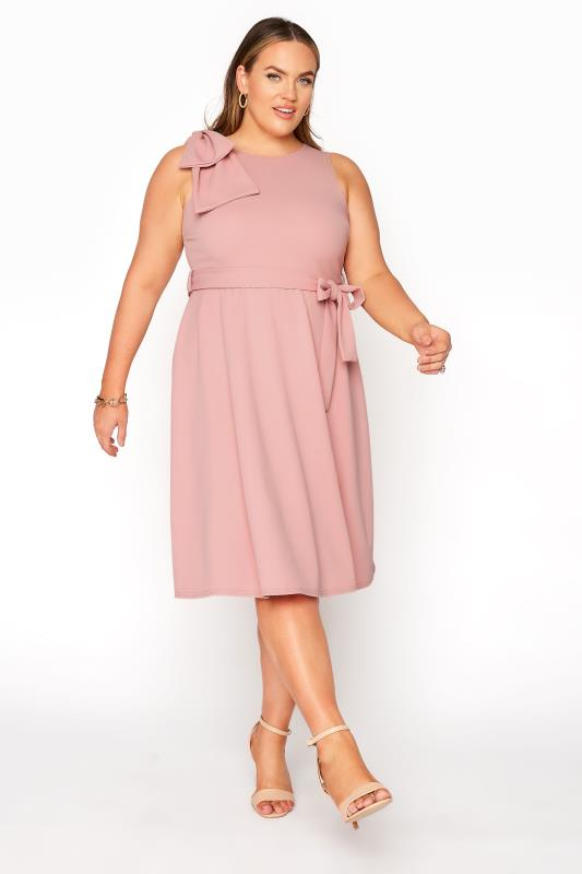 Großen Größen  YOURS LONDON Pink Bow Shoulder Dress