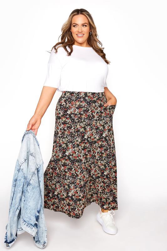Plus Size  Black Ditsy Pocket Maxi Skirt