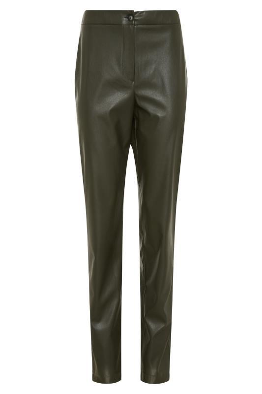 LTS Khaki Faux Leather Slim Leg Trousers_F.jpg