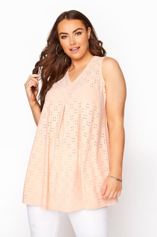 Plus Size  Pink Broderie Anglaise Swing Top