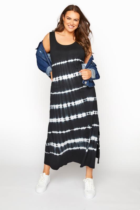 Großen Größen  Black Tie Dye Print Maxi Dress