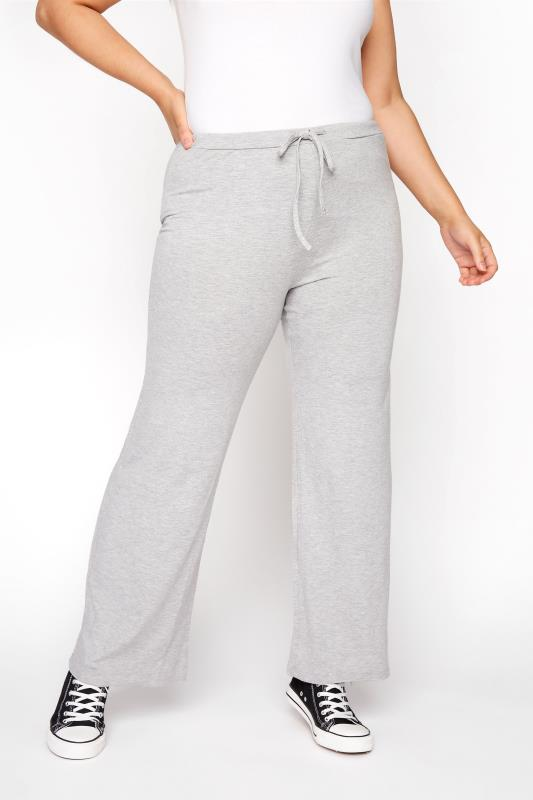 Plus Size  Grey Wide Leg Pull On Stretch Jersey Yoga Pants