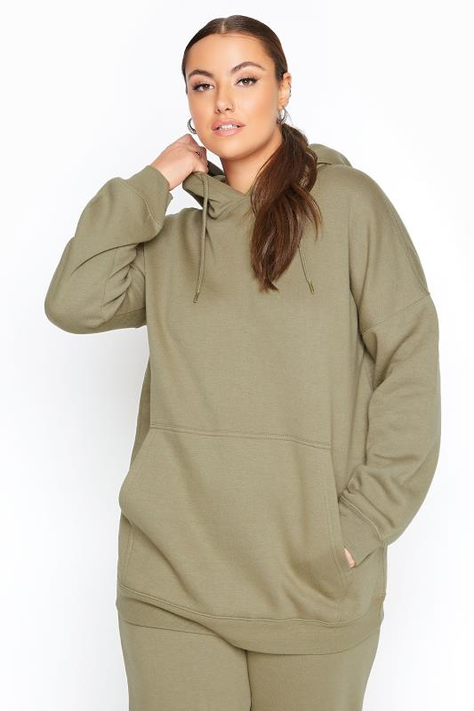 Plus Size  LIMITED COLLECTION Khaki Cotton Jersey Hoodie