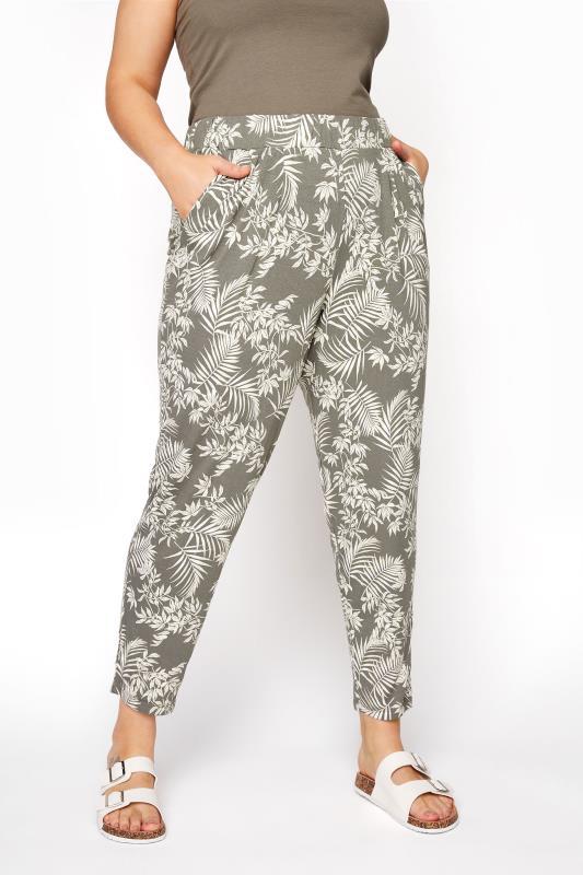 Plus Size Harem Trousers Khaki Leaf Print Double Pleat Harem Trousers