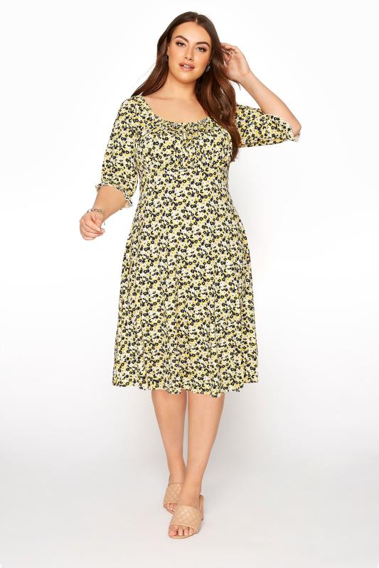 YOURS LONDON Yellow Ditsy Milkmaid Dress_A.jpg