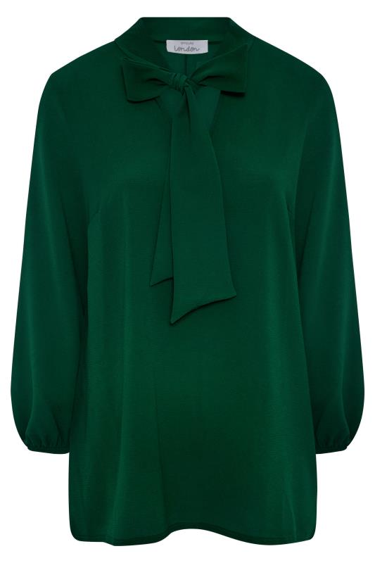 YOURS LONDON Forest Green Bow Blouse_F.jpg
