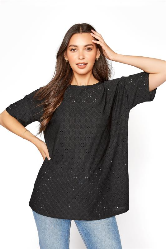 LTS Black Broiderie Anglaise T-Shirt