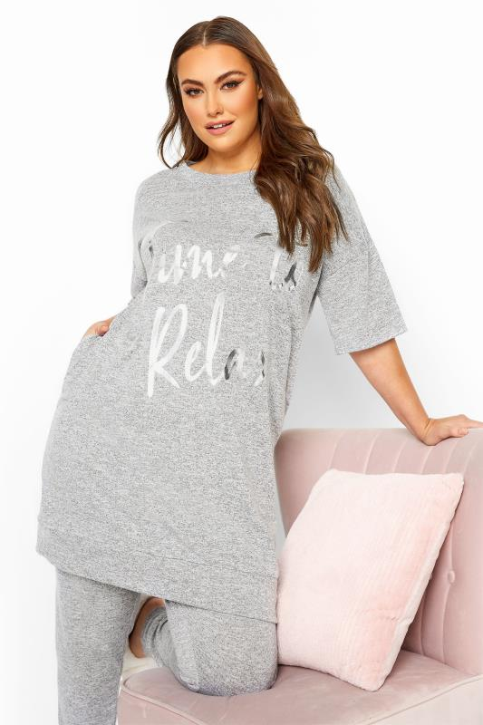 Grey Marl 'Time To Relax' Foil Slogan Lounge Top