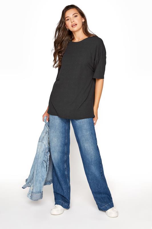 LTS Black Rib Oversized T-shirt