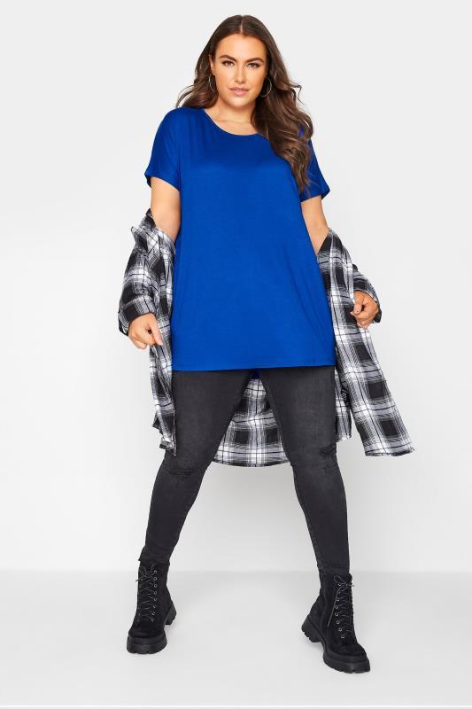 Cobalt Blue Dipped Hem T-Shirt_B.jpg