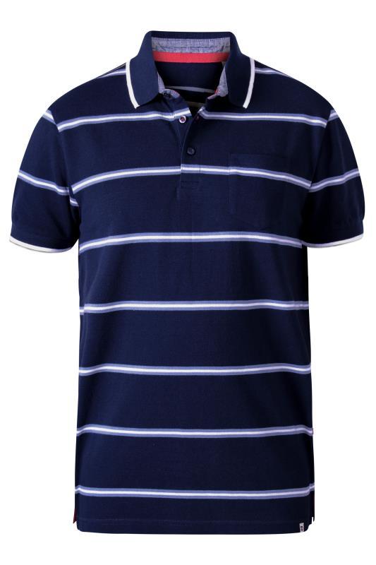 D555 Navy Twin Fine Stripe Pocket Polo Shirt