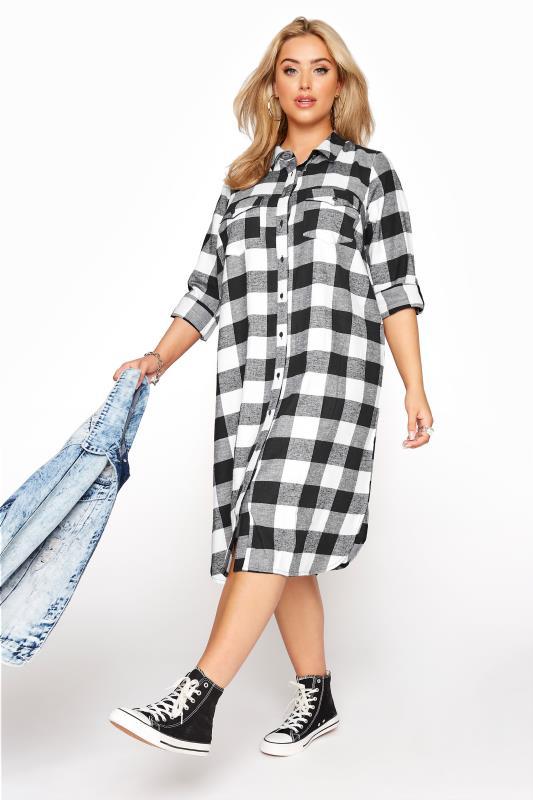 Plus Size  Black Check Cotton Boyfriend Maxi Shirt