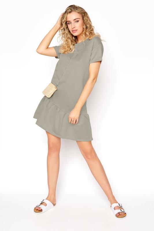 LTS Khaki Jersey Sweat Frill Hem Dress_B.jpg