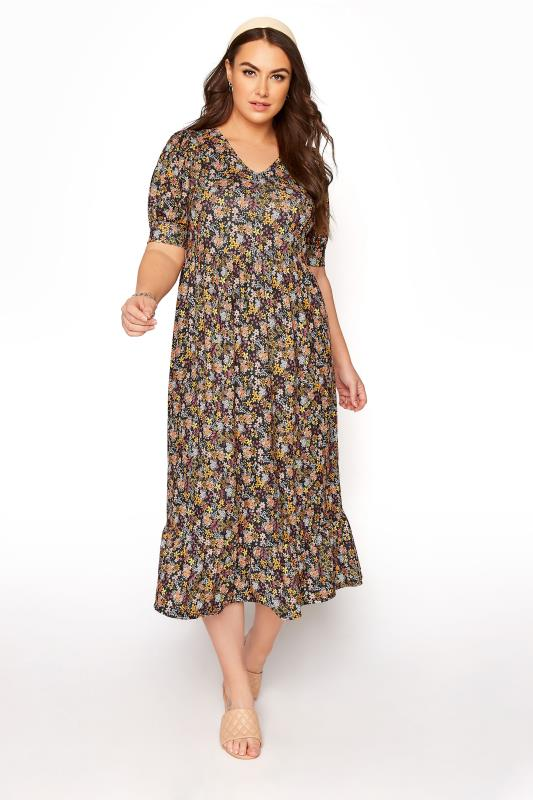 Plus Size  YOURS LONDON Black Ditsy Floral Tiered Dress