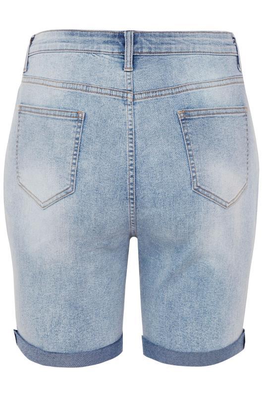 LIMITED COLLECTION Bleach Blue Distressed Denim Shorts_BK.jpg